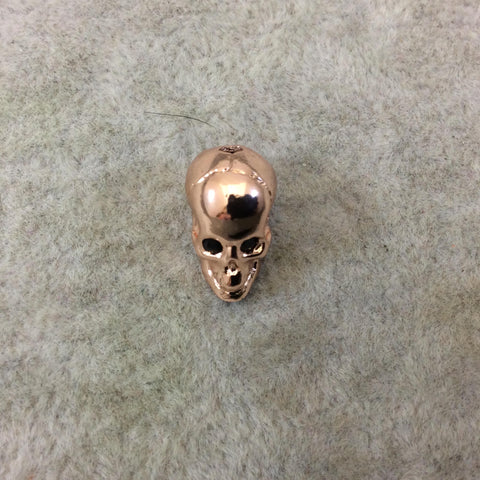 Rose Gold Plated CZ Cubic Zirconia Inlaid Skull Shaped Bead With Black CZ Eyes - Measures 10mmx13mm, Approx. - Sold Individually, RANDOM