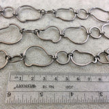 Gunmetal Plated Copper Alternating Freeform Link Chain - 20mm x 30mm Freeform Links With 14mm Circles - Sold By the Foot