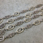 "39"" Silver Finish Chain and Swirl Necklace  14mm Open Links - Smooth and Twisted Design - No Clasp - Sold Individually As Shown!"