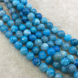 "8mm Smooth Turquoise Mottled Dyed Agate Round/Ball Shaped Beads with 1mm Holes - Sold by 15.5"" Strands (~ 48 Beads) - Quality Gemstone!"