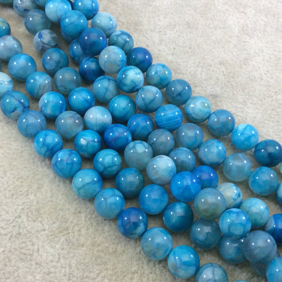 8mm Smooth Turquoise Mottled Dyed Agate Round/Ball Shaped Beads with 1mm Holes - Sold by 15.5