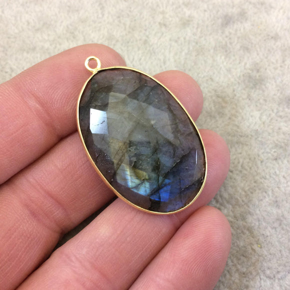 Single OOAK Gold Plated Faceted Natural Iridescent Labradorite Oval Shaped Bezel Focal Pendant