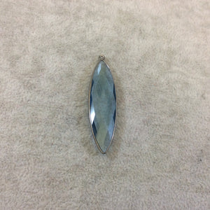 Gunmetal Plated Faceted Smoky Blue Hydro (Lab Created) Quartz Marquise Shaped Bezel Pendant - Measuring 14mm x 50mm - Sold Individually