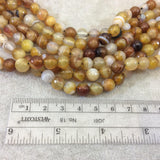 "8mm Natural Mixed Yellow/Brown Agate Faceted Glossy Round/Ball Shape Beads W 1.5mm Holes - 7.5"" Strand (Approx. 24 Beads) - LARGE HOLE BEADS"