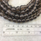 "10mm Natural Smoky Gray Quartz Smooth Glossy Round/Ball Shaped Beads With 2mm Holes - 7.5"" Strand (Approx. 12 Beads) - LARGE HOLE BEADS"