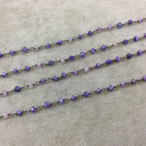 Gunmetal Plated Copper Rosary Chain with Faceted 3-4mm Rondelle Shaped Mystic Coated Lilac/Purple Moonstone Beads - Sold Per Ft - CH145-GM