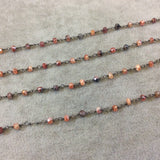 Gunmetal Plated Copper Rosary Chain with Faceted 3-4mm Rondelle Shaped Mystic Coated Peach/Gray Carnelian Beads - Sold by the Foot CH149-GM