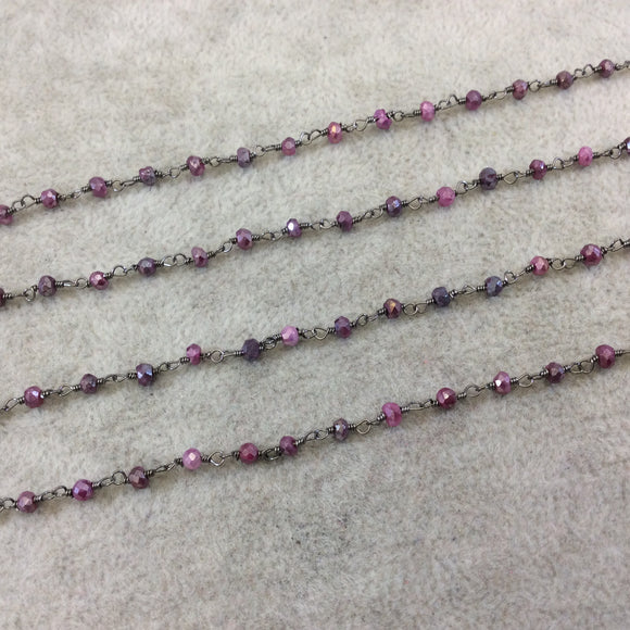 Gunmetal Plated Copper Rosary Chain with Faceted 3-4mm Rondelle Shape Mystic Coated Magenta Quartz Beads - Sold by the Foot (CH153-GM)