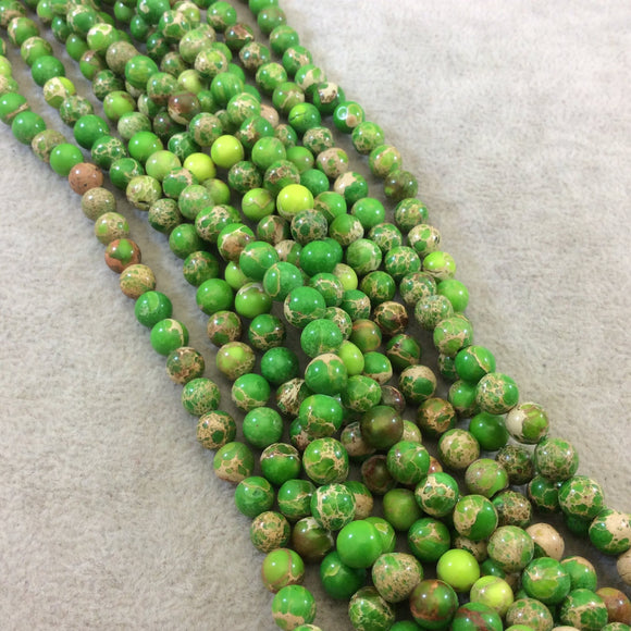 6mm Smooth Natural Green/Tan Sea Sediment Jasper Round/Ball Shaped Beads - Sold by 15.5