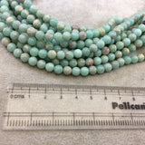 "6mm Smooth Natural Pale Aqua/Beige Sea Sediment Jasper Round/Ball Shaped Beads - Sold by 15.5"" Strands (~ 65 Beads) - Semi-Precious Gemstone"