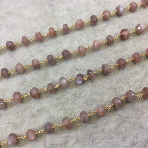 Gold Plated Copper Rosary Chain with Faceted 4mm x 6mm Rondelle Shape Peach/Mauve Peach Moonstone Beads - Sold Per Ft - (CH333-GD)