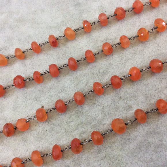 Gunmetal Plated Copper Rosary Chain with Faceted 6mm Rondelle Shape Carnelian  Beads - Sold by the Foot (CH337-GM) Quality Gemstone!