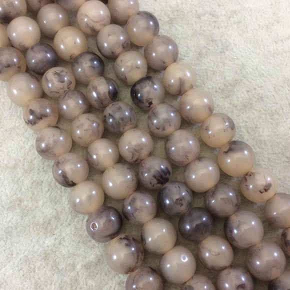 12mm Smokey Brown Lightweight Glossy Acrylic Smooth Finish Round/Rondelle Shaped Beads with 2.5mm Holes - 16
