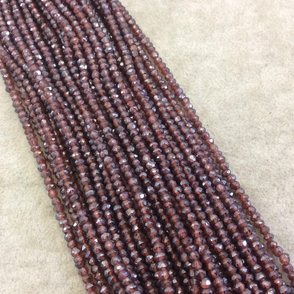 Holiday Special! 2-3mm x 2-3mm Faceted Mystic Coated Natural Red Garnet Rondelle Beads - 13