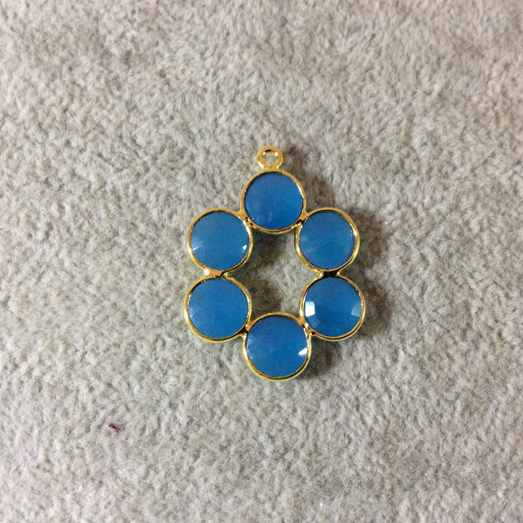 26mm Gold Finish Faceted Natural Sky Blue Chalcedony 6 Petal (8mm) Flower Shaped Plated Copper Bezel Pendant - Sold Individually, Random