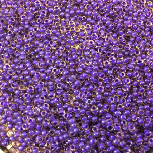 Size 11/0 Semi-Matte Finish Violet/Lined Lt. Amethyst Miyuki Glass Seed Beads - Sold by 24 Gram Tubes (~ 2500 Beads / Tube) - (11-91932)