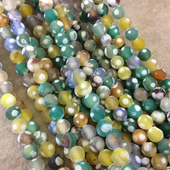 6mm MATTE Smooth Yellow/Green/Gray Spotted Dyed Agate Round Shaped Beads W 1mm Holes - Sold by 16