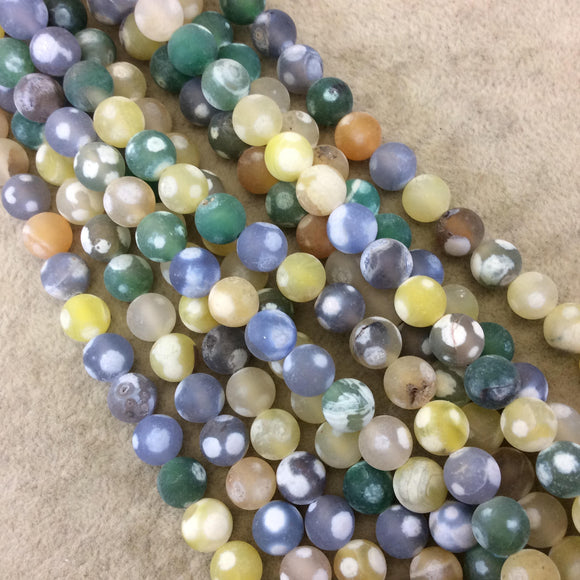 8mm MATTE Smooth Yellow/Green/Gray Spotted Dyed Agate Round Shaped Beads W 1mm Holes - Sold by 16