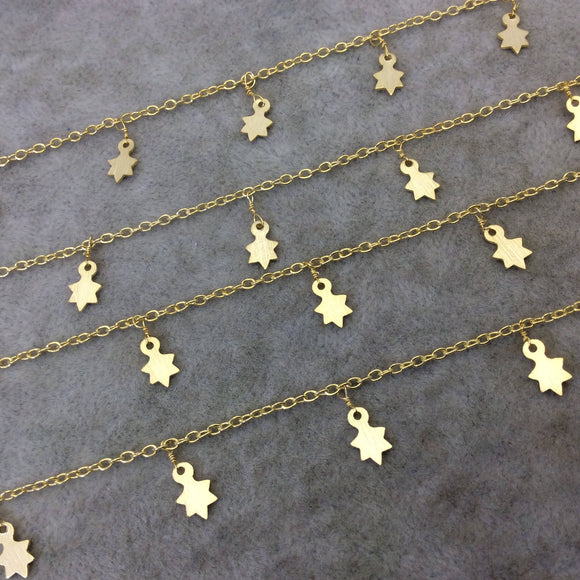 Gold Plated Copper Spaced Single Dangle Wrapped Chain with 5mm x 9mm Gold Sun/Star Shaped Dangles - Sold by 1 Foot Length! (SD007-GD)
