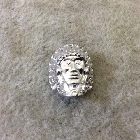 Silver Plated CZ Cubic Zirconia Inlaid Native American Head Shaped Bead White CZ - Measures 13mm x 15mm, Approx. - Sold Individually, RANDOM