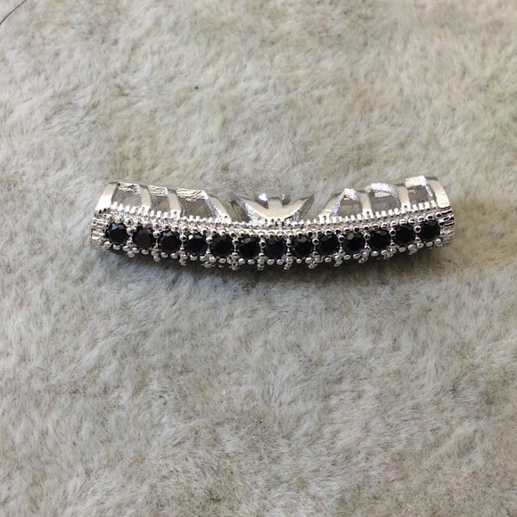 Silver Plated CZ Cubic Zirconia Inlaid Curved Tube/Macaroni Shaped Bead W Black CZ - Measures ~ 5mm x 26mm,  - Sold Individually, RANDOM