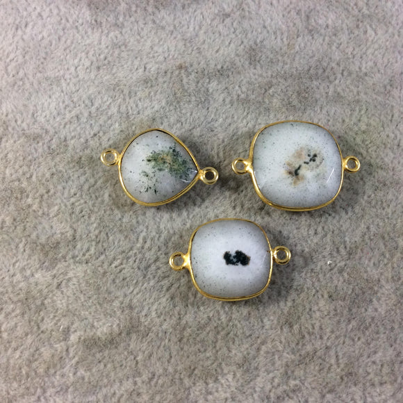 Jeweler's Lot Gold Plated Faceted Natural White/Green Solar Quartz Assorted Shape Bezel Connectors