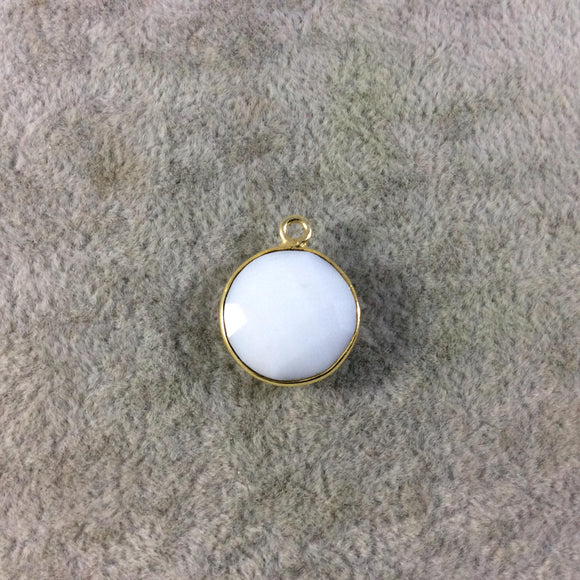 Gold Plated Faceted White Hydro (Lab Created) Chalcedony Round/Coin Shaped Bezel Pendant - Measuring 15mm x 15mm - Sold Individually