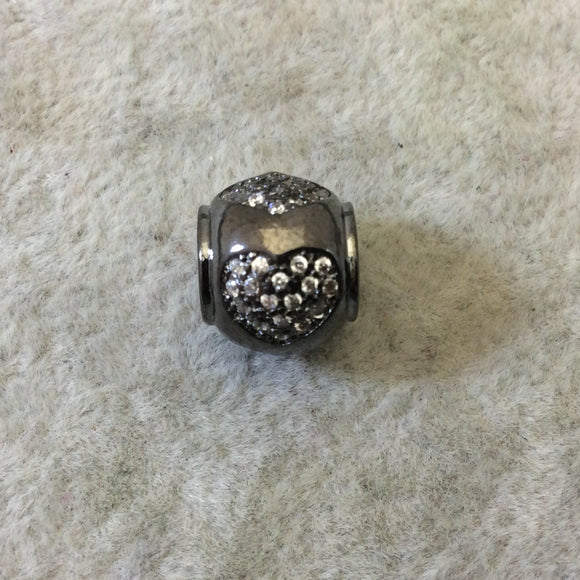 Gunmetal Plated CZ Cubic Zirconia Inlaid Rolled Edge Urn Shaped Bead W White CZ Hearts -  ~ 9mm x 10mm,  - Sold Individually, Random