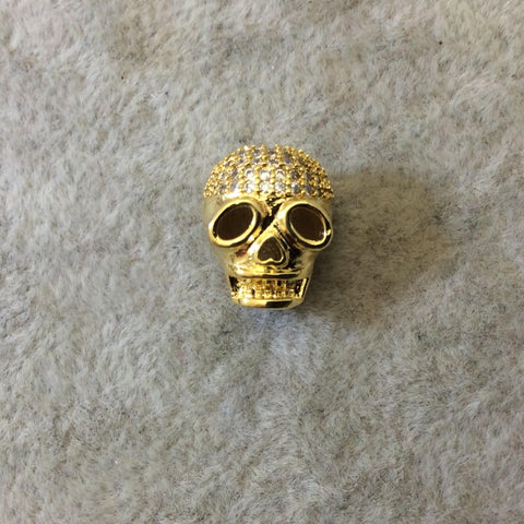 Gold Plated CZ Cubic Zirconia Inlaid Skull Mask/Ski Mask Shaped Bead With White CZ  -  ~ 9mm x 11mm,  - Sold Individually, Random