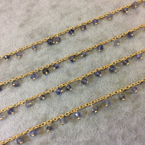 Gold Plated Copper Spaced Single Dangle Wrapped Chain with 3-4mm Indigo Iolite Rondelle Dangles - Sold by 1 Foot Length! (SD019-GD)