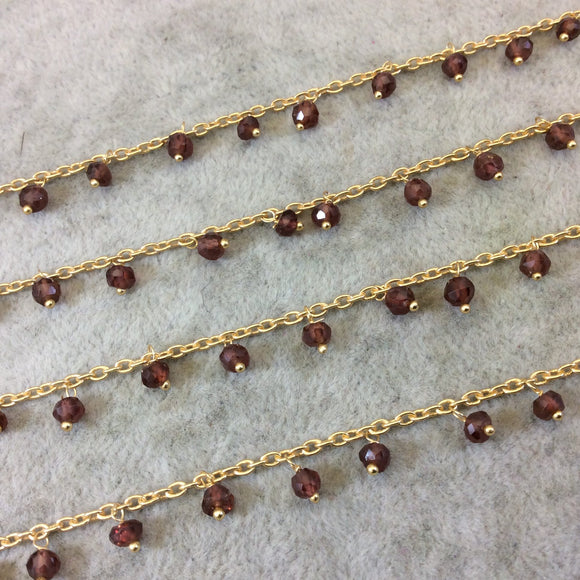 Gold Plated Copper Spaced Single Dangle Wrapped Chain with 3-4mm Natural Garnet Rondelle Dangles - Sold by 1 Foot Length! (SD017-GD)