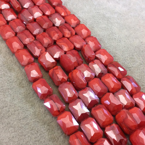 Chinese Crystal Beads | 10mm x 14mm Glossy Finish Faceted Opaque Bright Red Rectangle Glass Beads