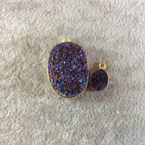 Jeweler's Lot Gold Finish Purple Oval/Oblong Shaped Natural Druzy Agate Bezel Pendants DOP3  ~ 11mm - 26mm Long - Sold In Lot Of 2 As Shown
