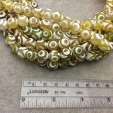 "10mm Natural Dotted White/Green/Gold Tibetan Agate Faceted Round Shape Beads W 1mm Holes - 14.75"" Strand (~ 37 Beads) - Quality Gemstone"