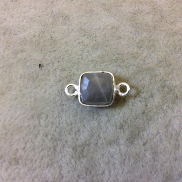 Silver Finish Faceted Gray Moonstone Cube/Square Shape Plated Copper Bezel Connector - Measures 7-8mm - Natural Gemstone - Sold Individually