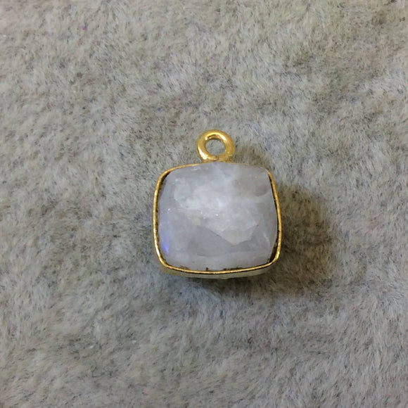 Gold Finish Faceted Rainbow Moonstone Cube/Square Shape Plated Copper Bezel Pendant - ~ 7-8mm - Natural Gemstone - Sold Individually