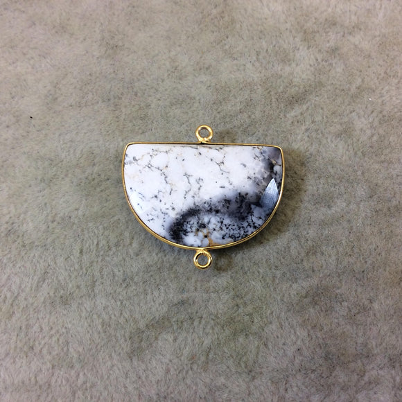 Gold Plated Faceted Gray/White Dendritic Opal Half Moon Shaped Bezel Connector - ~ 20mmx30mm - Natural Gemstone Sold Per Each, Random