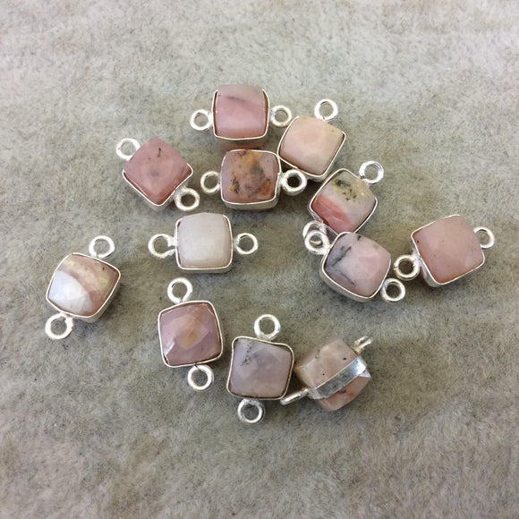 Silver Finish Faceted Rhodochrosite Cube/Square Shape Plated Copper Bezel Connector - Measures 7-8mm - Natural Gemstone - Sold Individually