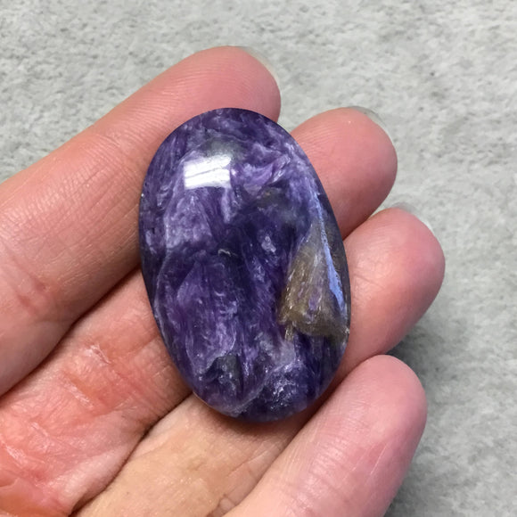 OOAK Natural Purple Charoite Oblong Oval Shape Flat Back Cabochon