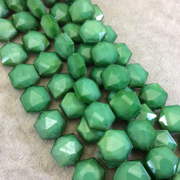 Chinese Crystal Beads | 14mm x 14mm Glossy Finish Faceted Bright Green Hexagon Glass Beads