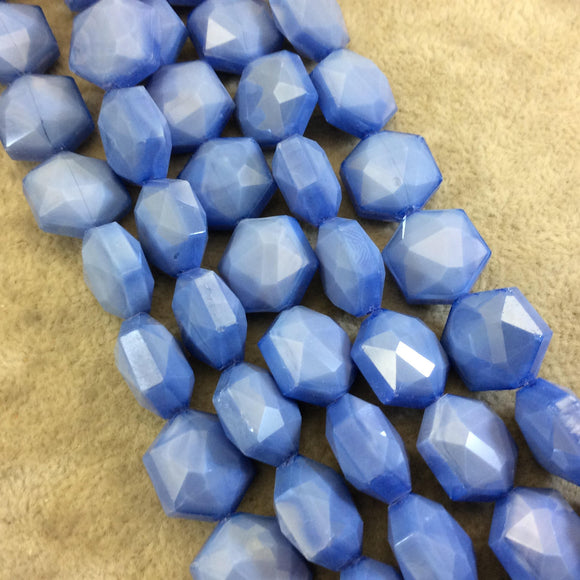 Chinese Crystal Beads | 14mm x 14mm Glossy Finish Faceted Periwinkle Blue Hexagon Glass Beads