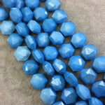 "14mm x 14mm Glossy Finish Faceted Sky Blue Chinese Crystal Hexagon Beads - Sold by 11.5"" Strands (Approx. 20 Beads) - (CC14140-19)"