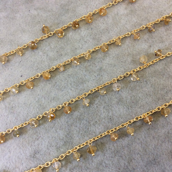 Gold Plated Copper Spaced Single Dangle Wrapped Chain with 3-4mm Golden Citrine Rondelle Dangles - Sold by 1 Foot Length! (SD036-GD)