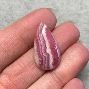 "OOAK AAA Rhodochrosite Pear/Teardrop Shaped Flat Back Cabochon ""17"" - Measuring 16mm x 28mm, 5mm Dome Height - Natural High Quality Gemstone"