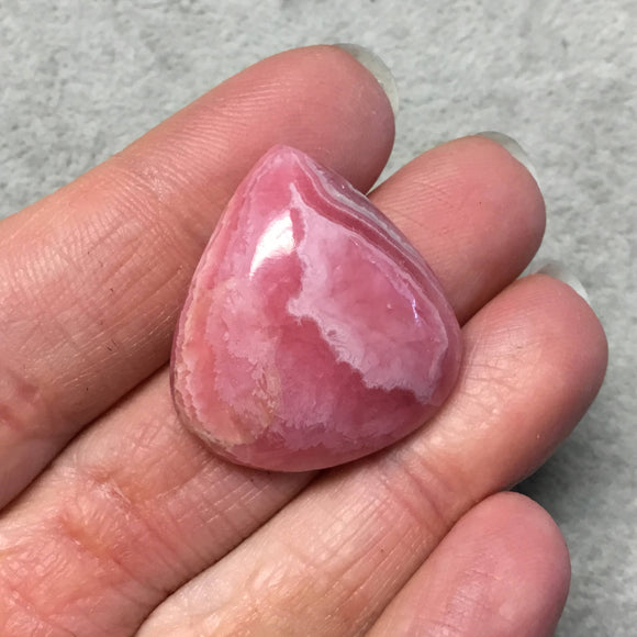 OOAK AAA Rhodochrosite Pear/Teardrop Shaped Flat Back Cabochon