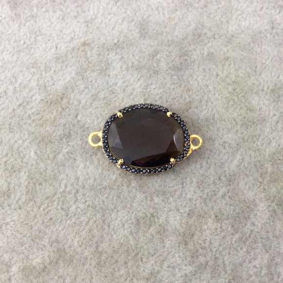 Gold Finish Faceted Black CZ Rimmed Smoky Quartz Oblong Oval Shaped Bezel Connector Component - Measures 17mm x 22mm - Sold Individually