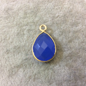 Gold Finish Faceted Denim Blue Chalcedony Teardrop Shaped Bezel Pendant Component - Measuring 12mm x 16mm - Natural Semi-precious Gemstone