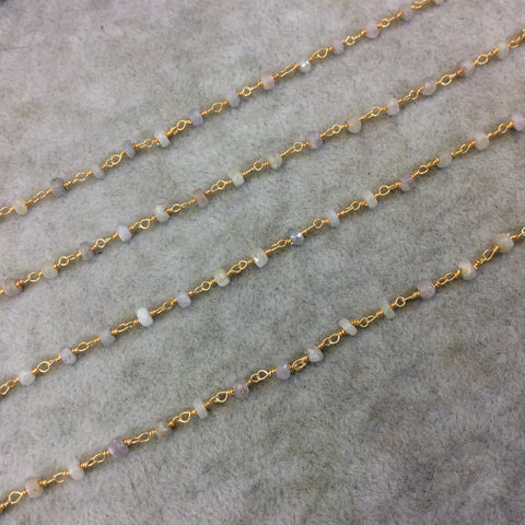 Gold Plated Copper Rosary Chain with Faceted 3mm - 4mm Rondelle Shape White Sapphire Beads - Natural Gemstone - Sold Per Foot (CH159-GD)