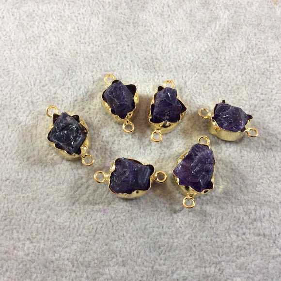 Gold Finish Medium Raw Nugget Genuine Dark Amethyst Wavy Bezel Connector - 17mm - 20mm Long, Approx. - Sold Individually, Selected Randomly