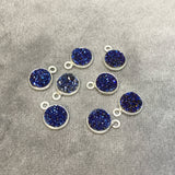 Silver Finish Metallic Dark Blue Round/Coin Shaped Natural Druzy Agate Bezel Pendant Component - Measures 8mm x 8mm - Sold Per Each